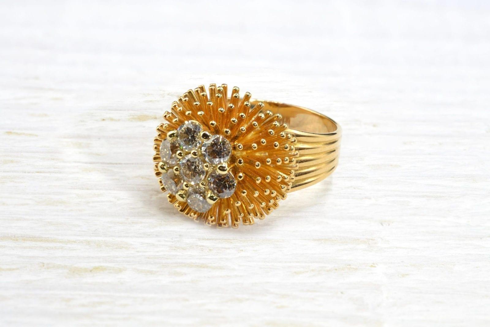 bague diamants en or jaune