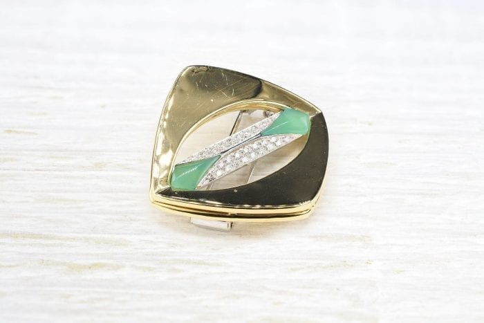 Broche des années 1970 diamants en or jaune 18k