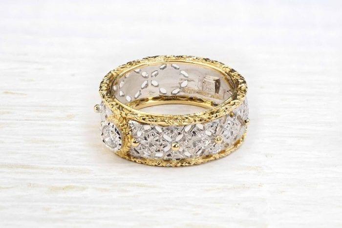 Bague diamant en or blanc et jaune 18k