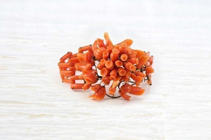 Bracelet corail et or jaune 14k