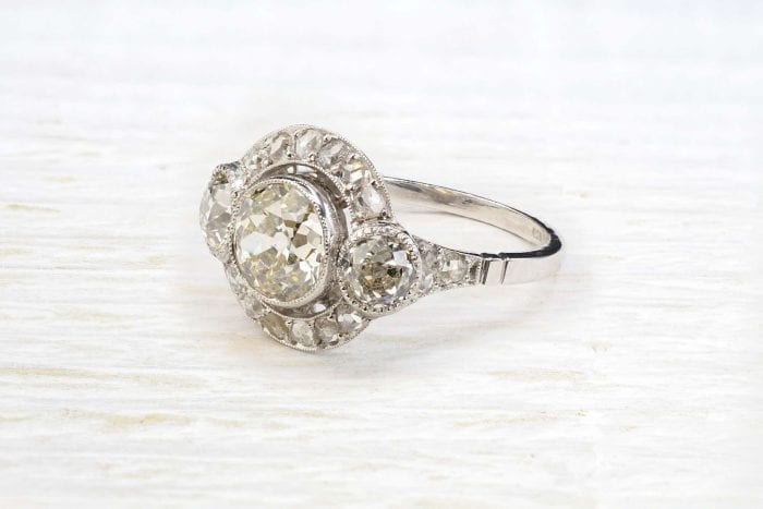 Bague 1930 diamants en platine