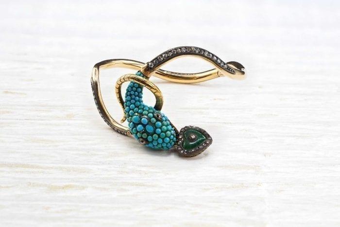 Bracelet 19e serpent turquoises en or jaune 18k