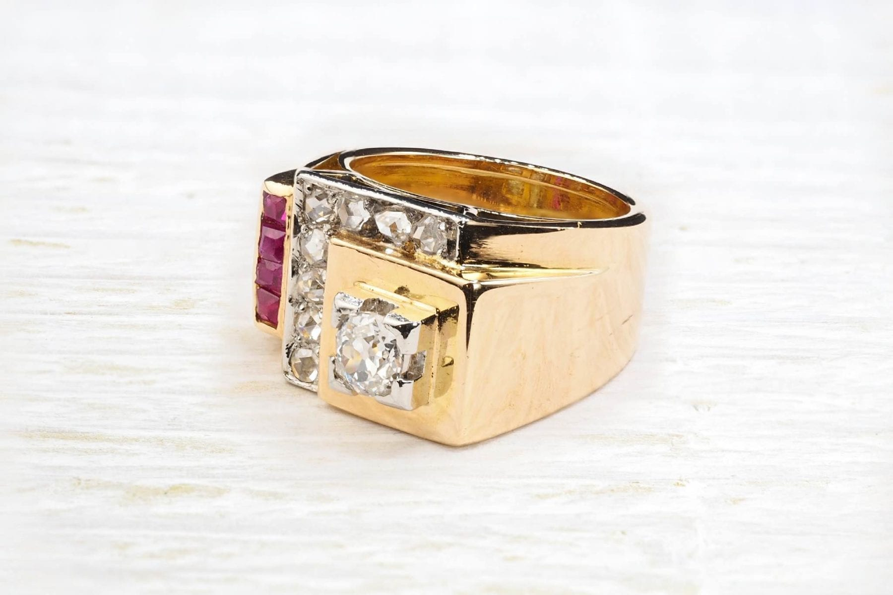 bague tank rubis diamants