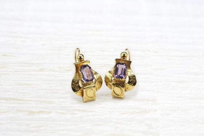 Boucles d'oreilles 19e siècle améthystes en or jaune 18k