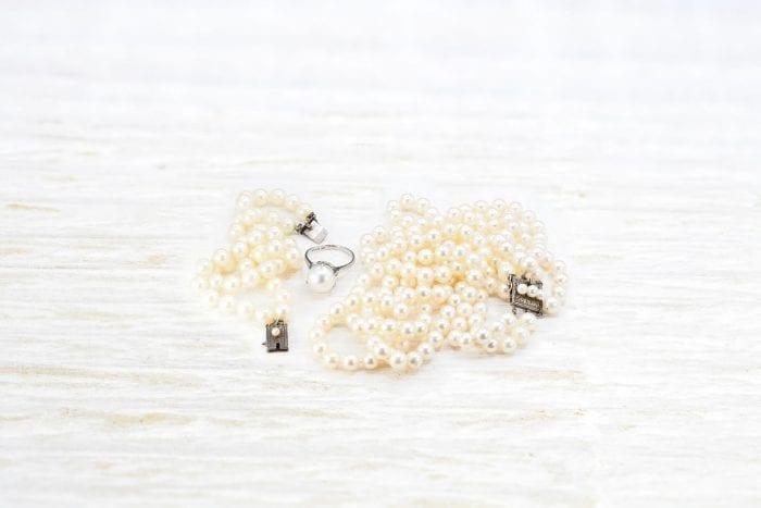 Lot collier, bracelet et bague perle Asahi Japonais