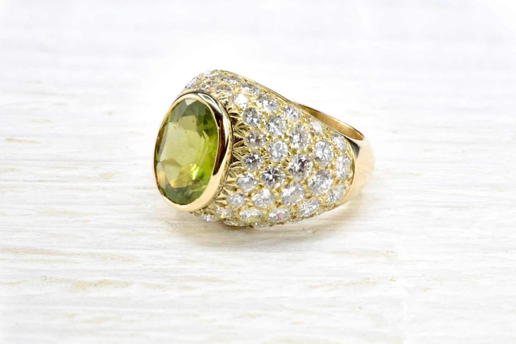 Bague Dôme Peridot diamants