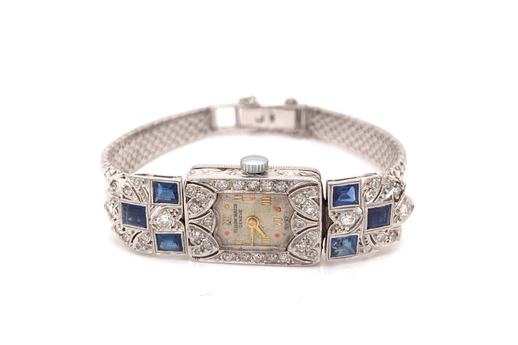montre Art Déco saphirs et diamants en platine