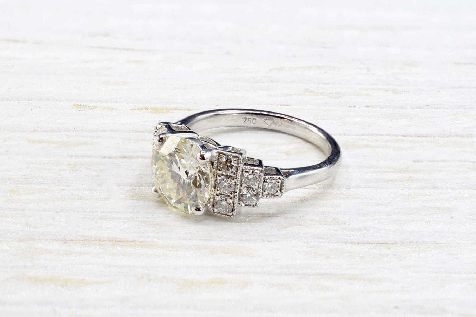 Bague Art Déco diamant de en or blanc 18k