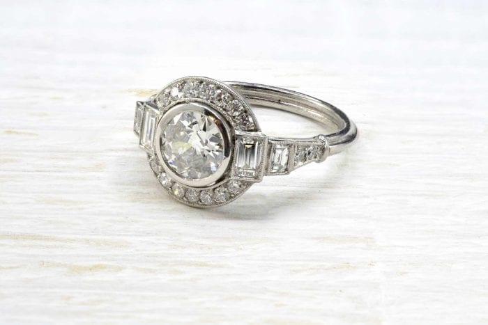 Bague vintage Art Déco diamant en platine