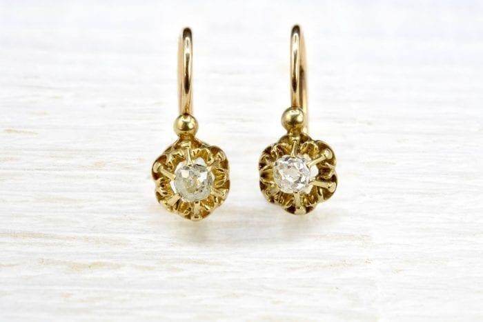 Dormeuses anciennes diamants en or jaune 18k
