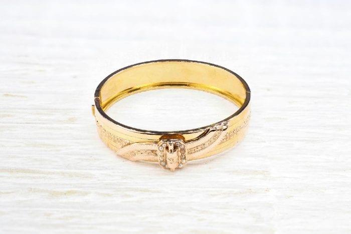 Bracelet manchette perles fines en or jaune 18k