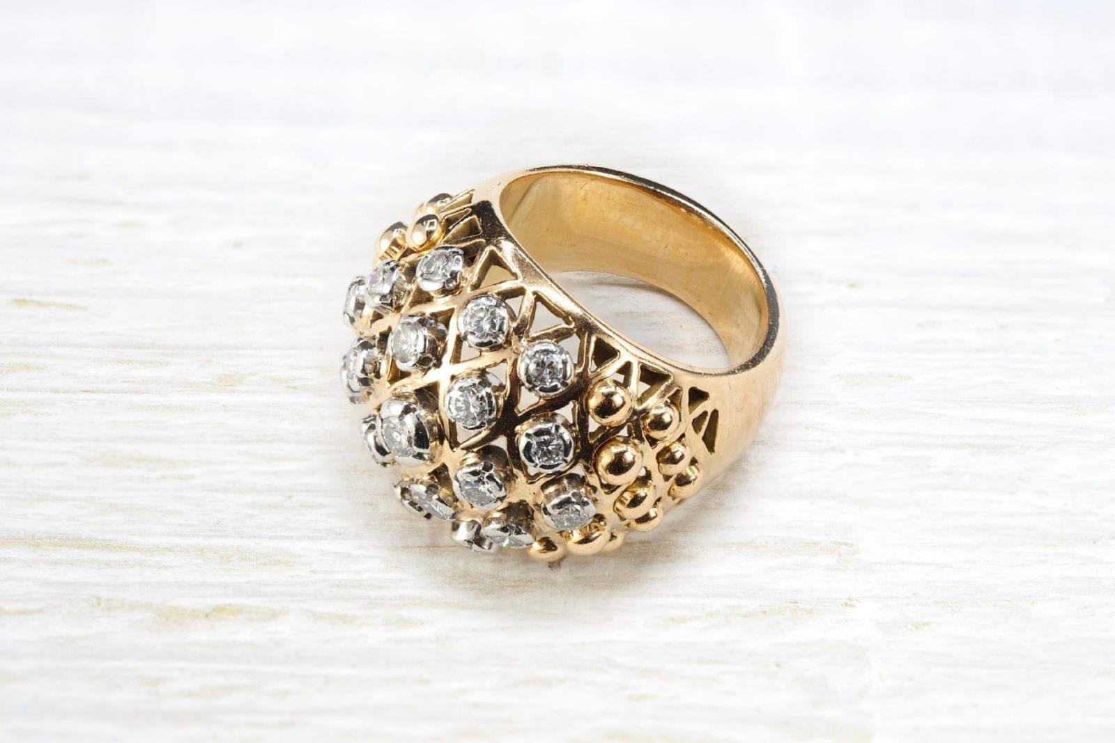 Bague 1950 diamants en or jaune 18k