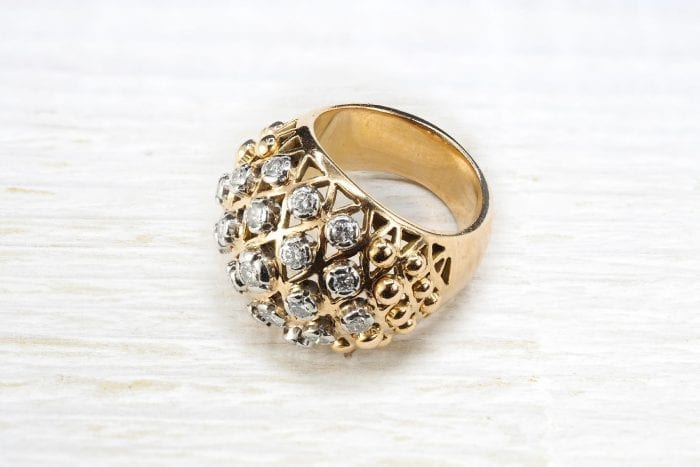 Bague 1950 diamants en or jaune 18k