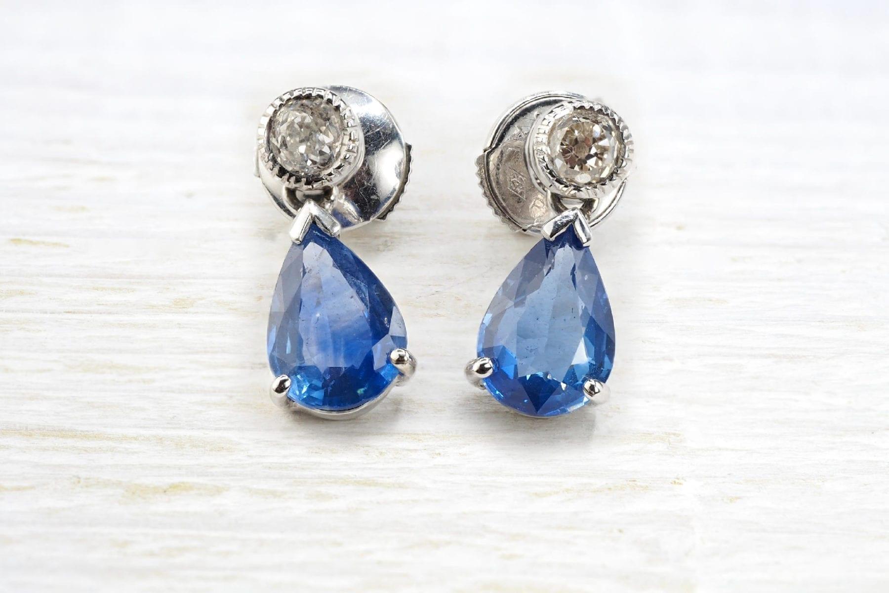 Boucles d'oreilles saphirs et diamants