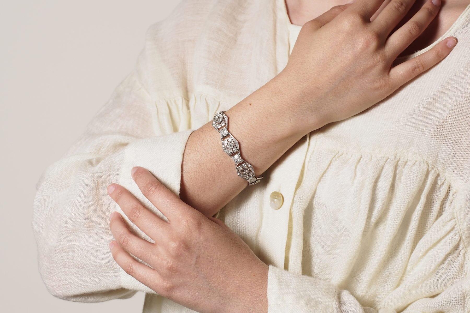 Bracelet Art-Déco platine diamants