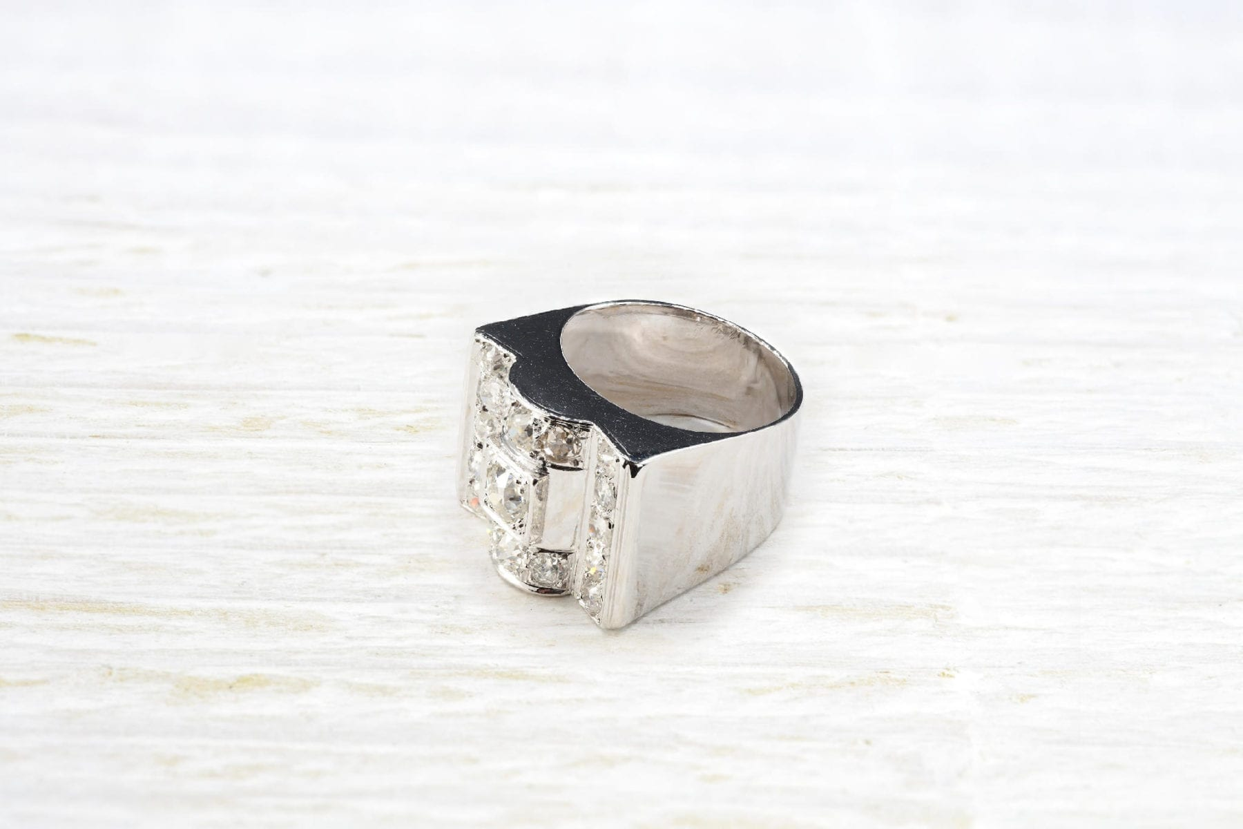 Bague Tank diamants en or blanc 18k