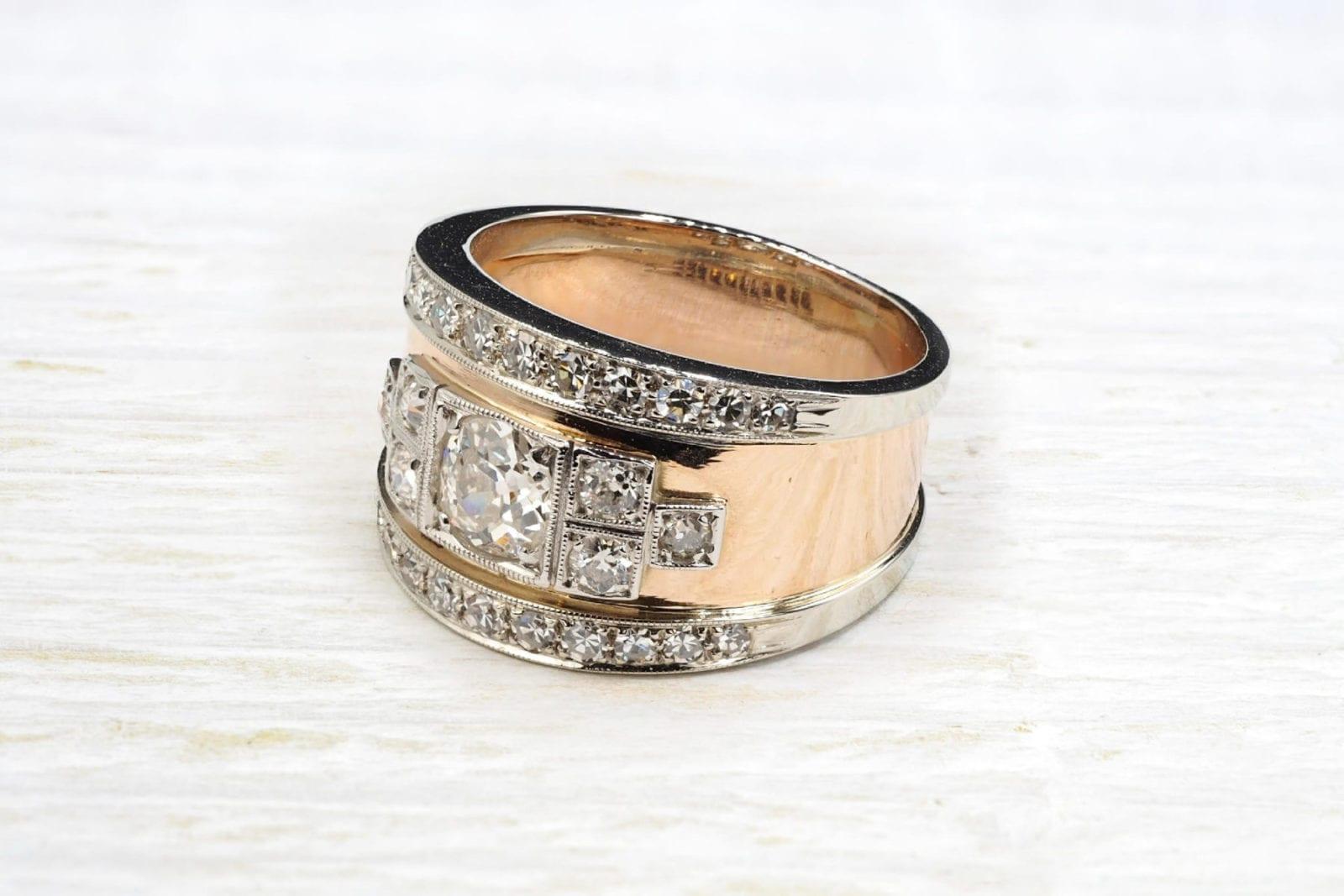 Bague bandeau diamants en or jaune 18k