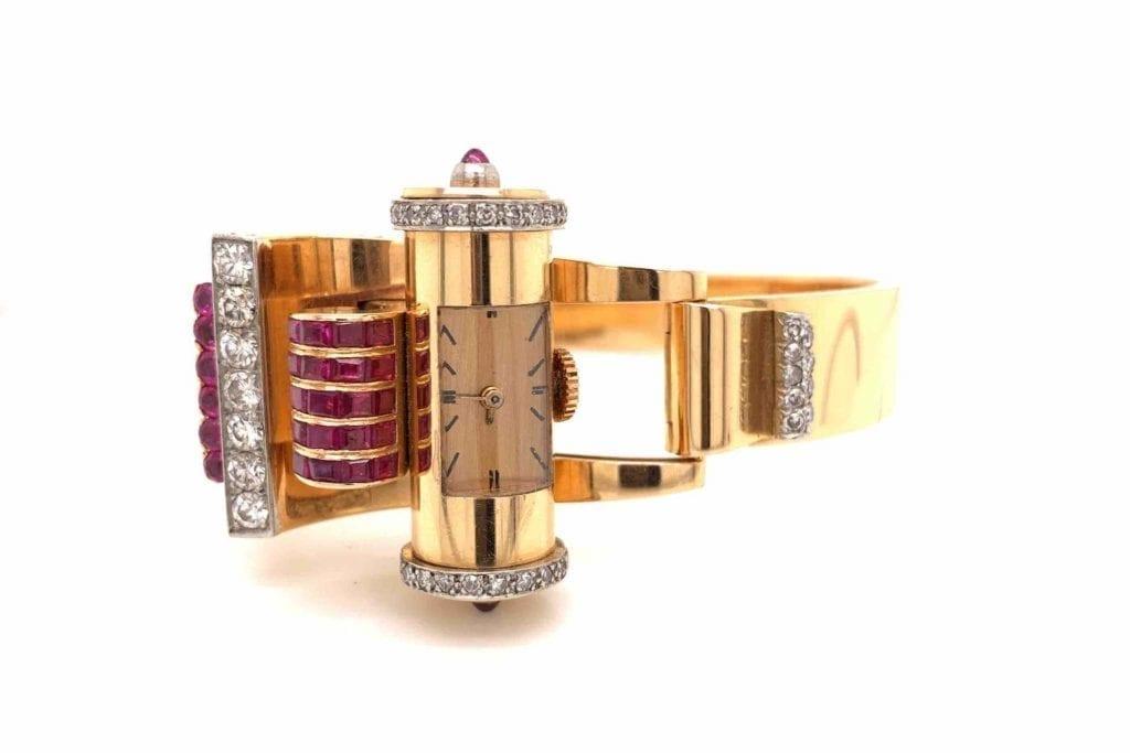 montre Tank rubis et diamants en or 18k