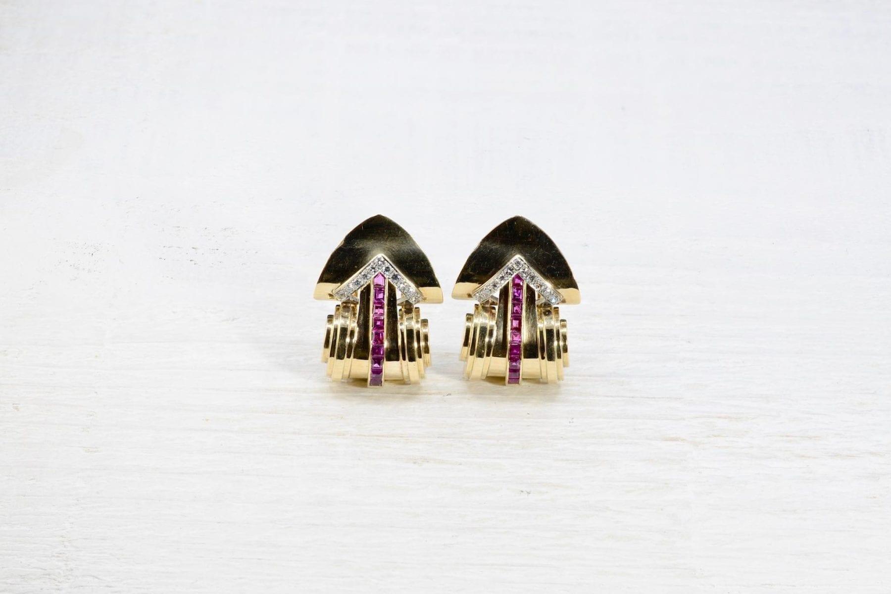 Boucle d'oreille rubis diamants