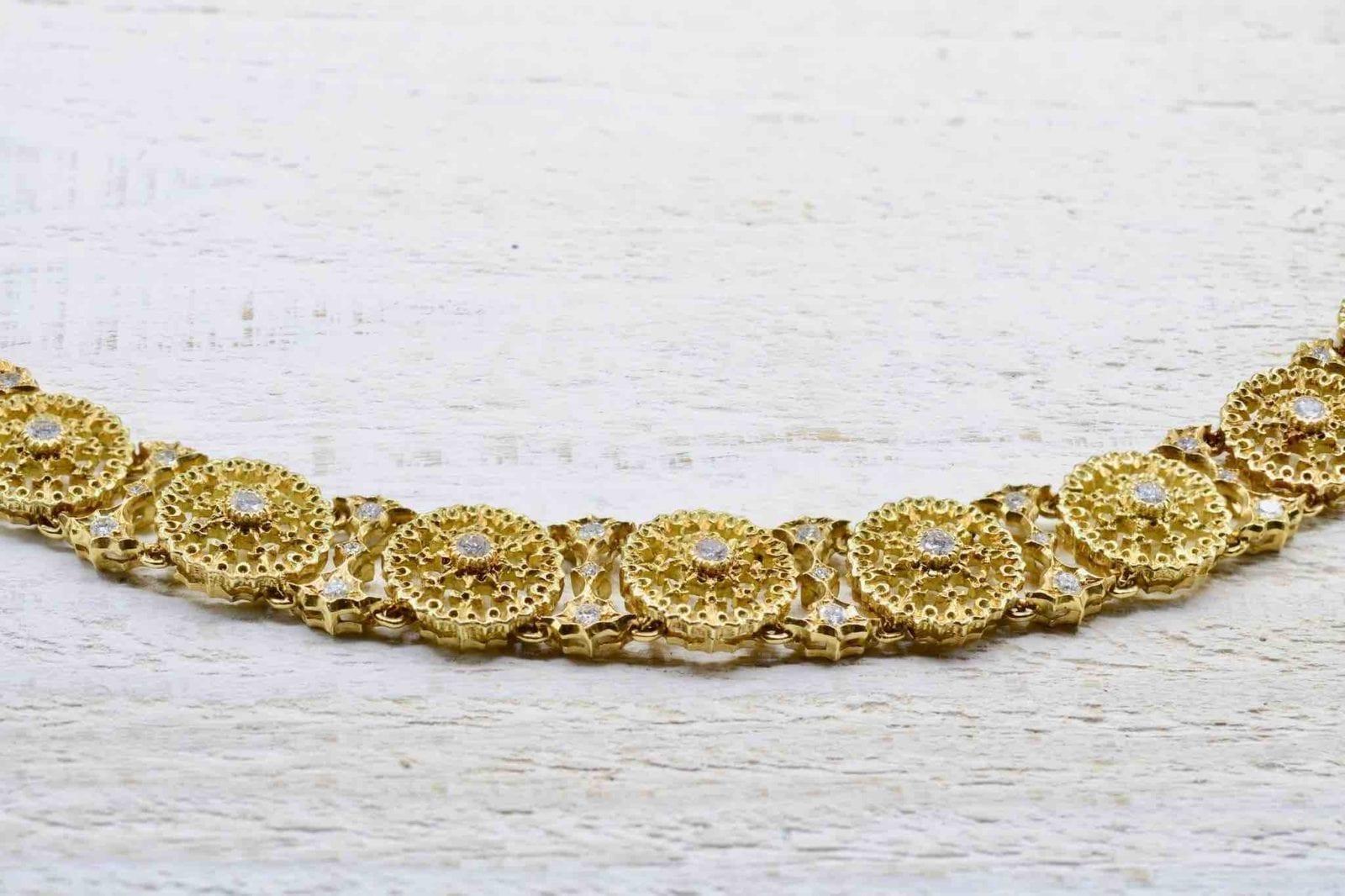 Collier Buccellati diamants en or jaune 18k