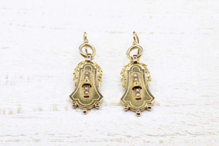 Boucles d'oreilles Napoléon III en or jaune 18k