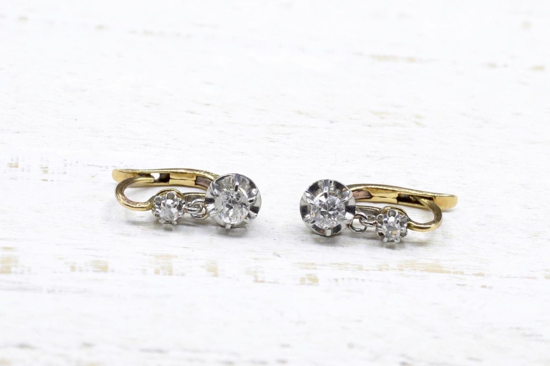 Boucles d'oreilles dormeuses diamants Or jaune 18k et platine