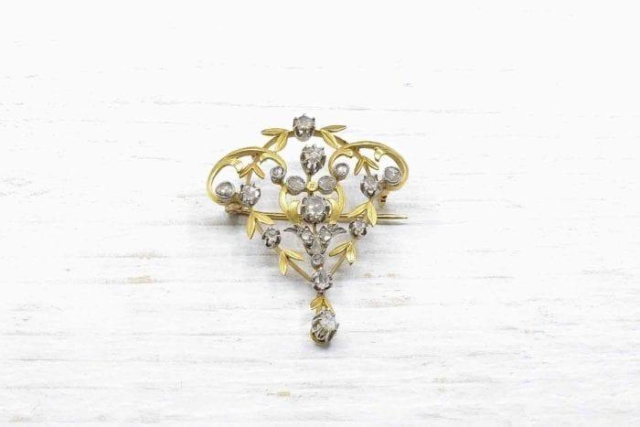 Pendentif Broche Art-Nouveau or 18k et platine serti de diamants