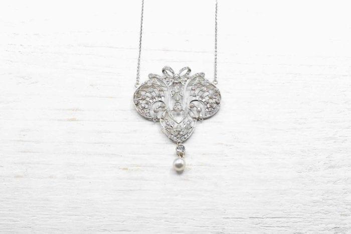 Pendentif Art-Déco platine et diamants