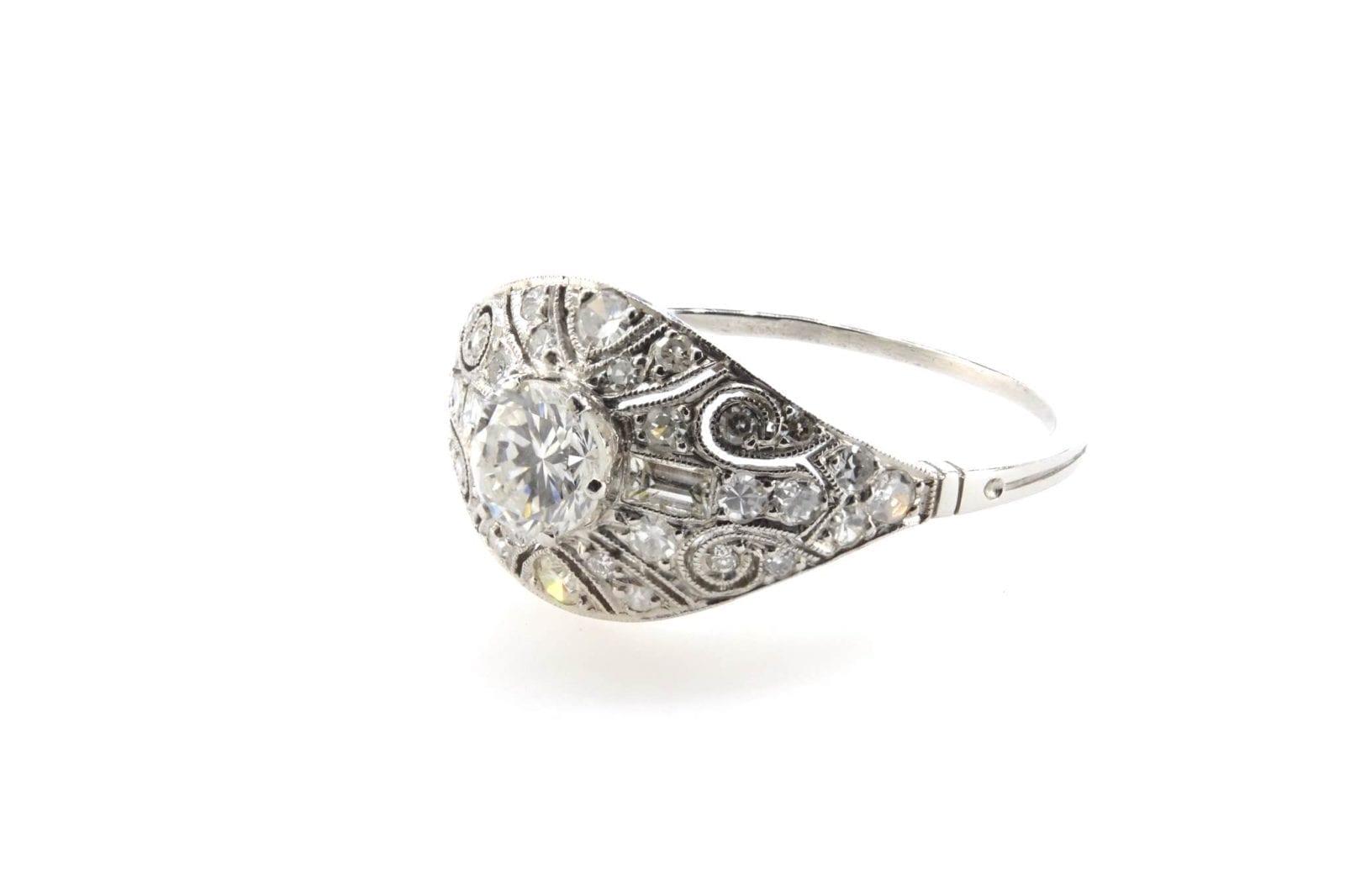 bague bandeau vintage diamants en platine