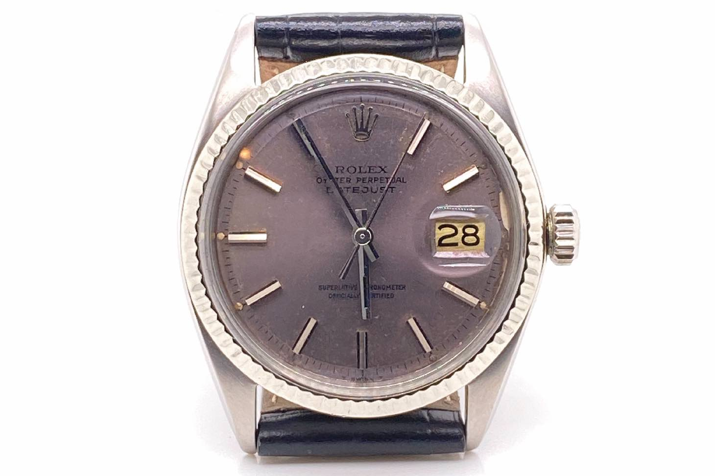 Montre Rolex Oyster, acier cadran gris ref 1601