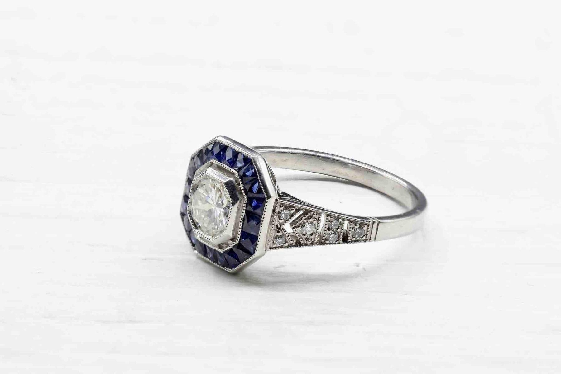 bague art deco saphirs diamant