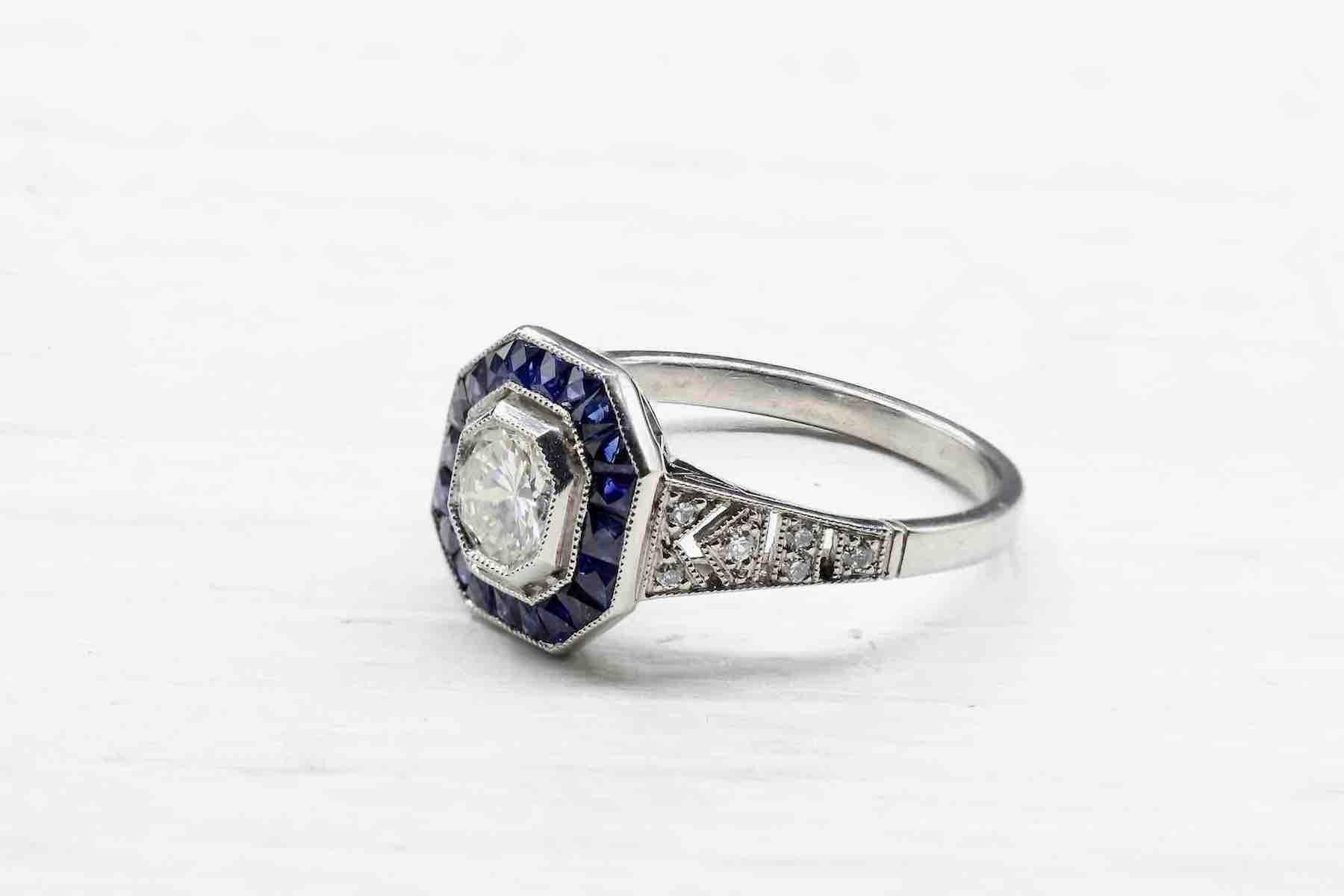 bague saphirs et diamant occasion central