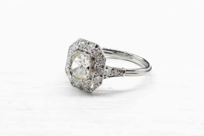 Bague diamants vintage en platine