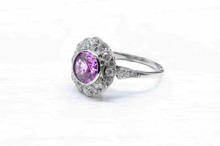 Bague saphir rose diamants en platine