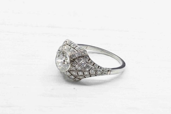 Bague dôme diamants en platine