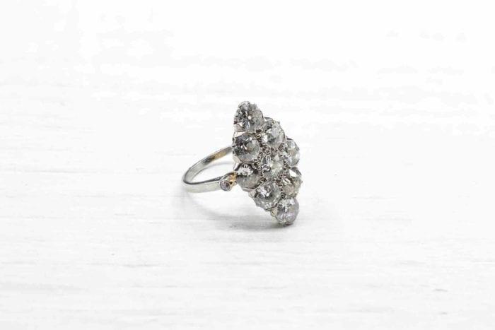 bague marquise diamants en platine