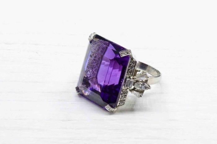 Bague améthyste diamants en platine