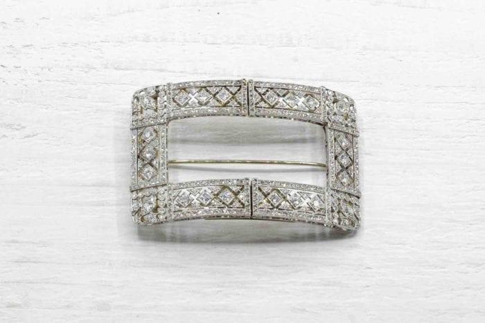 Broche, clips Art Déco diamants en platine