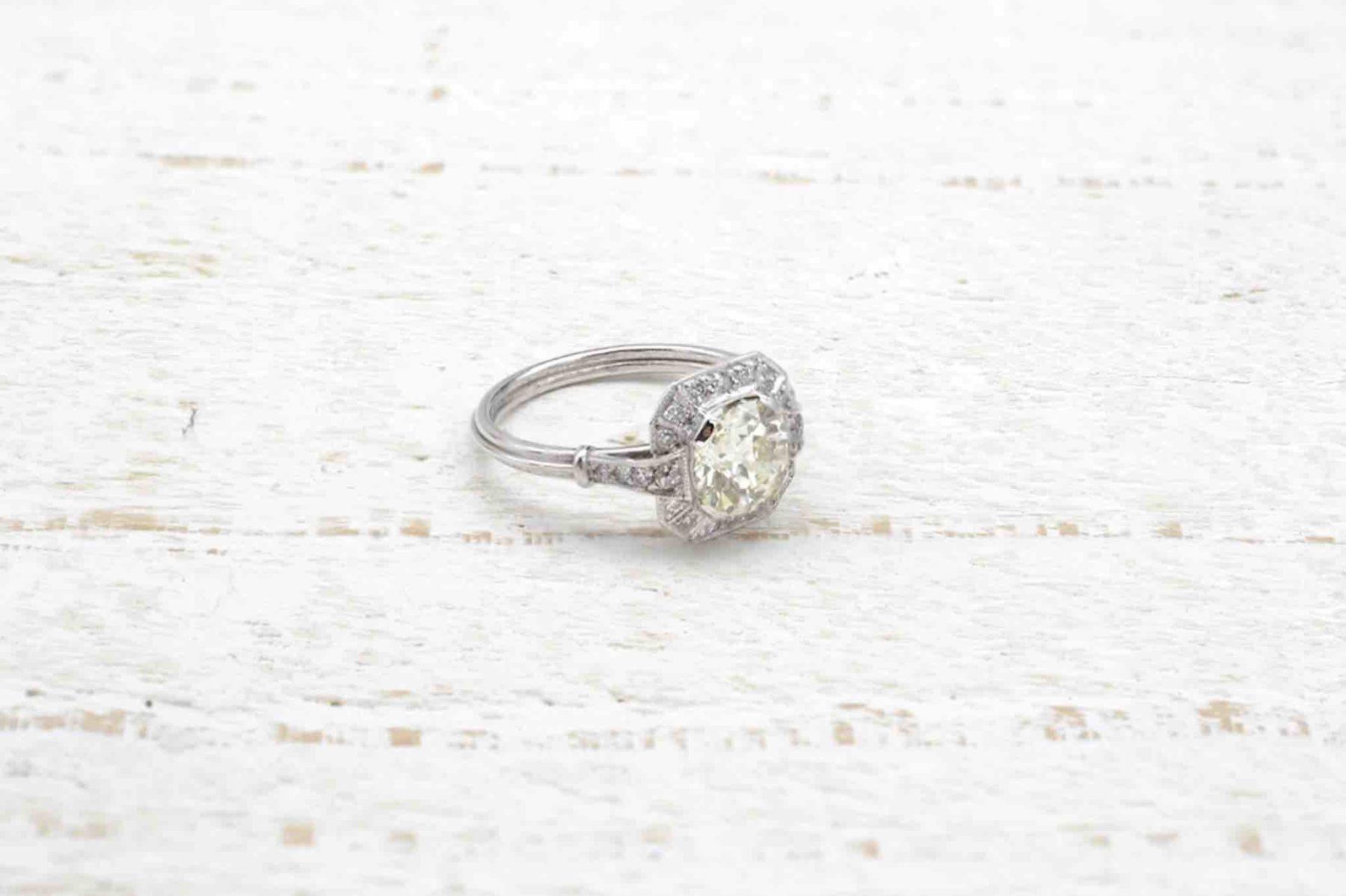 Bague vintage diamant de 1,39 carats en platine