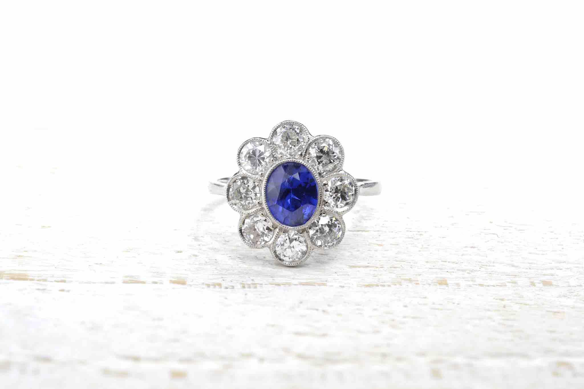 bague fleur diamants et saphir