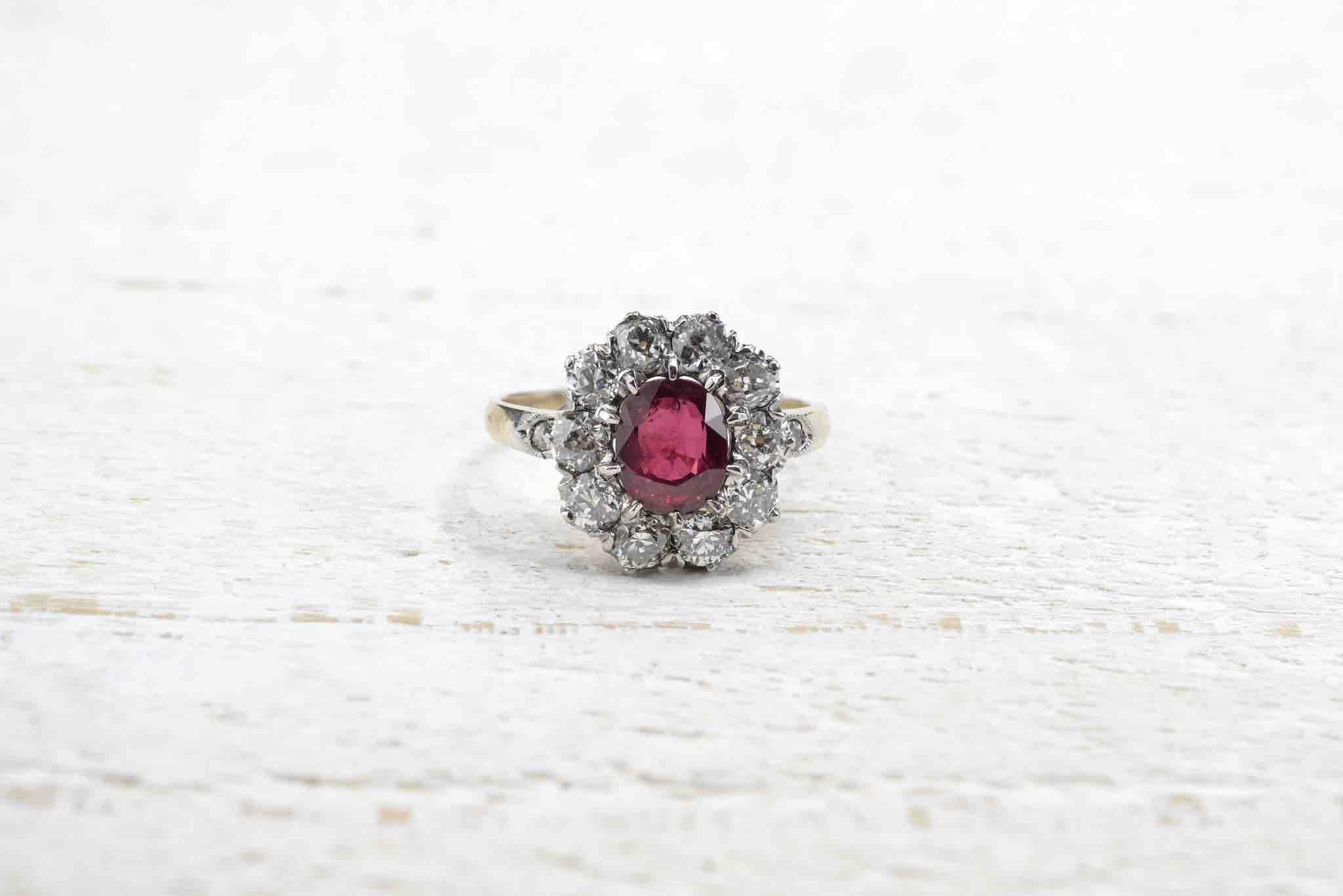 bague ancienne rubis diamants