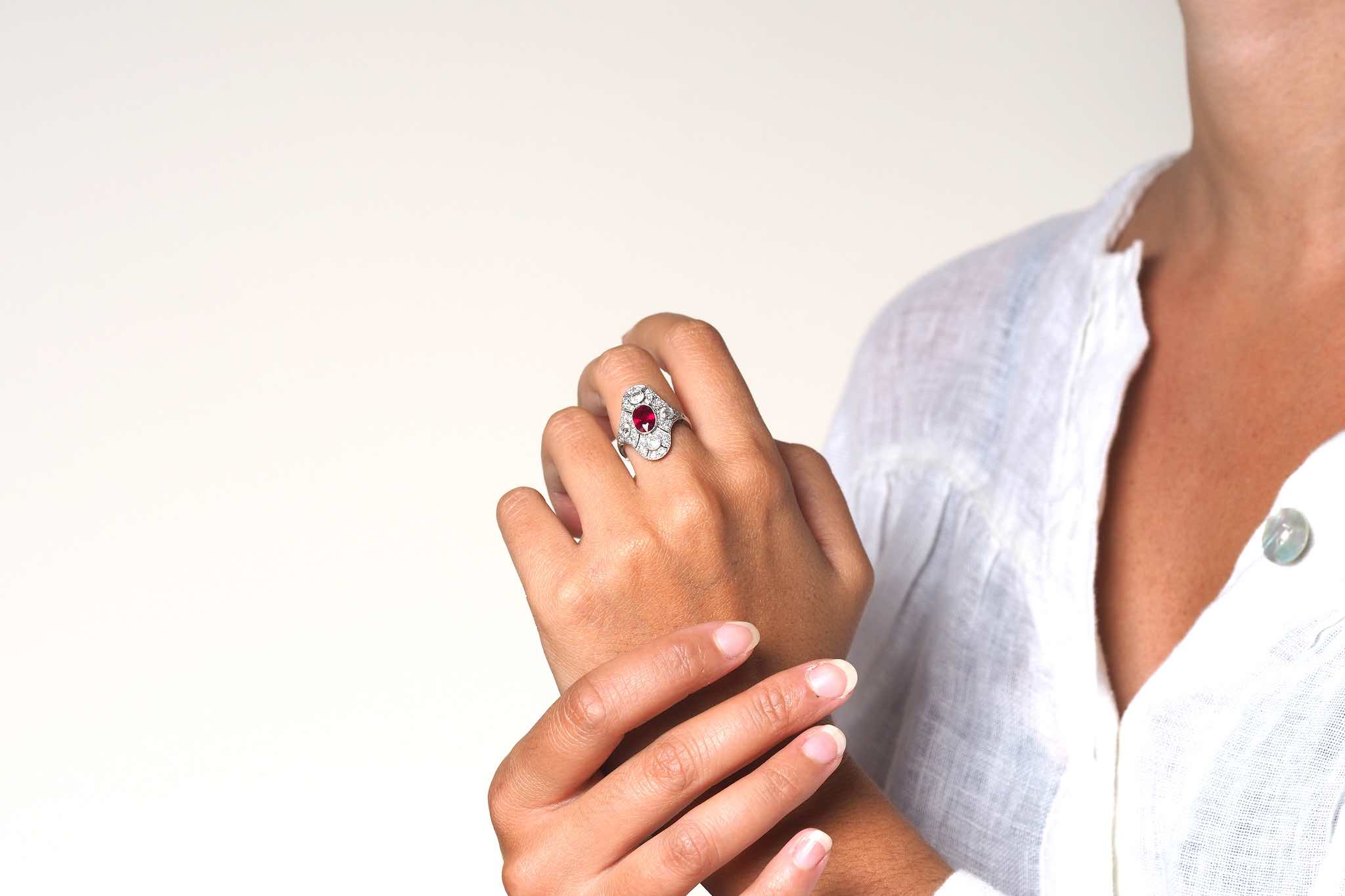 Bague diamants et rubis Art Déco vintage