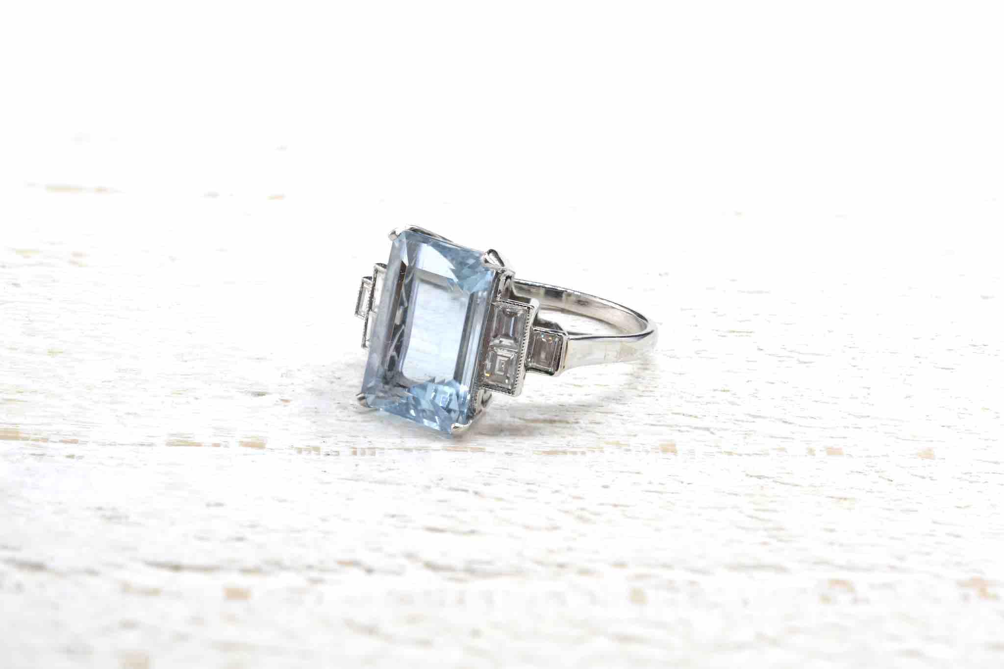 bague aigue marine diamants