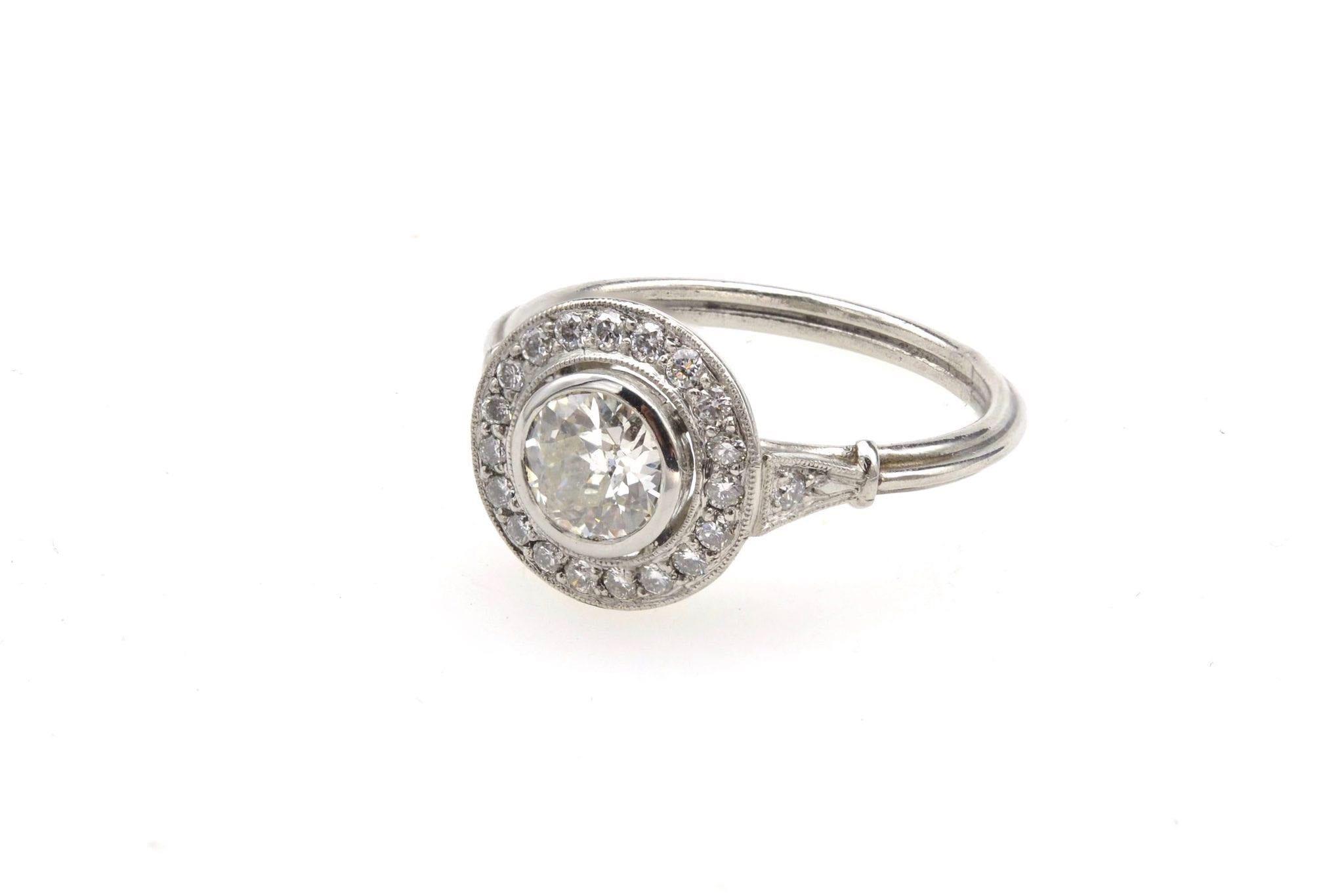 Bague ronde Art Déco diamants