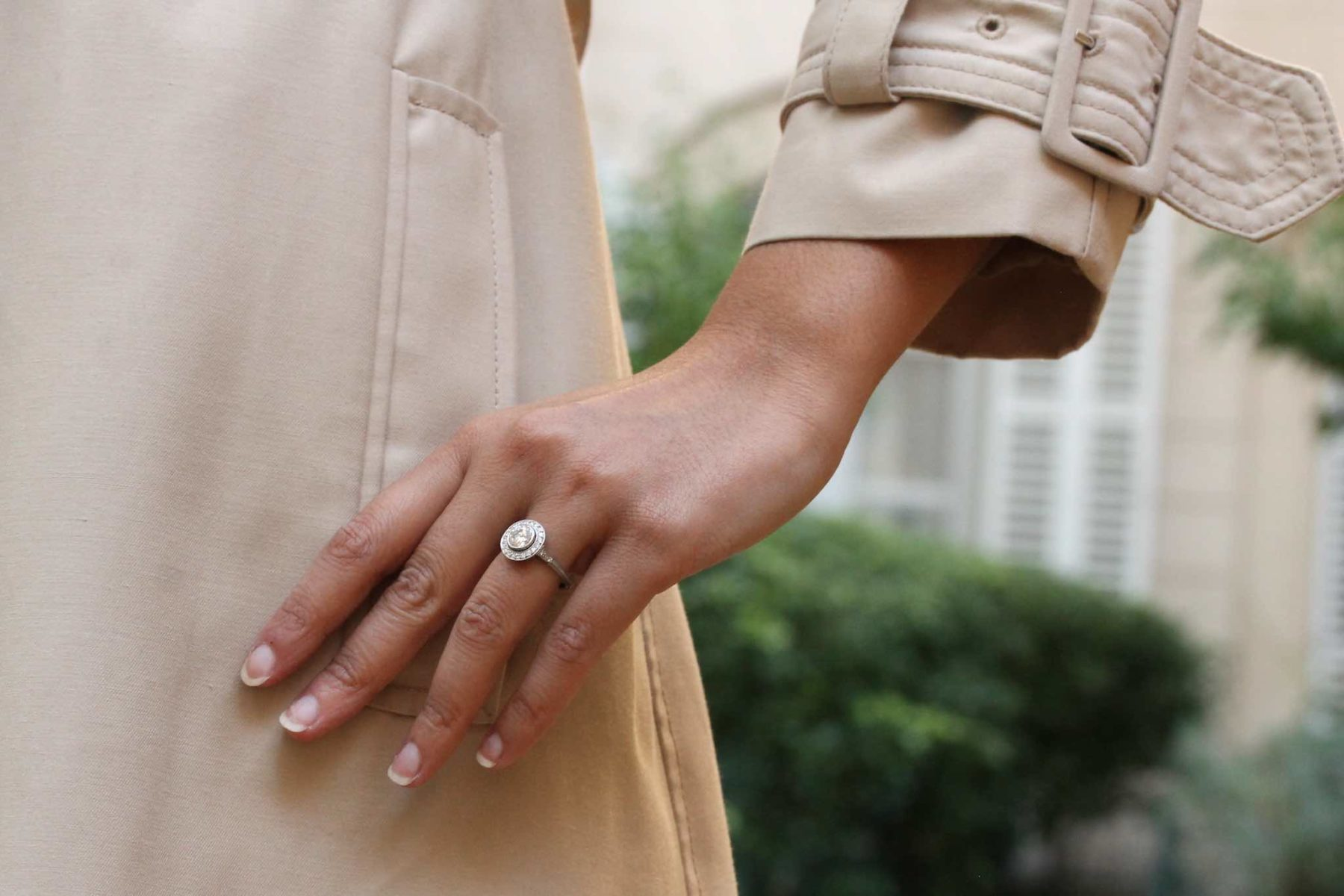 Bague ronde diamant en platine
