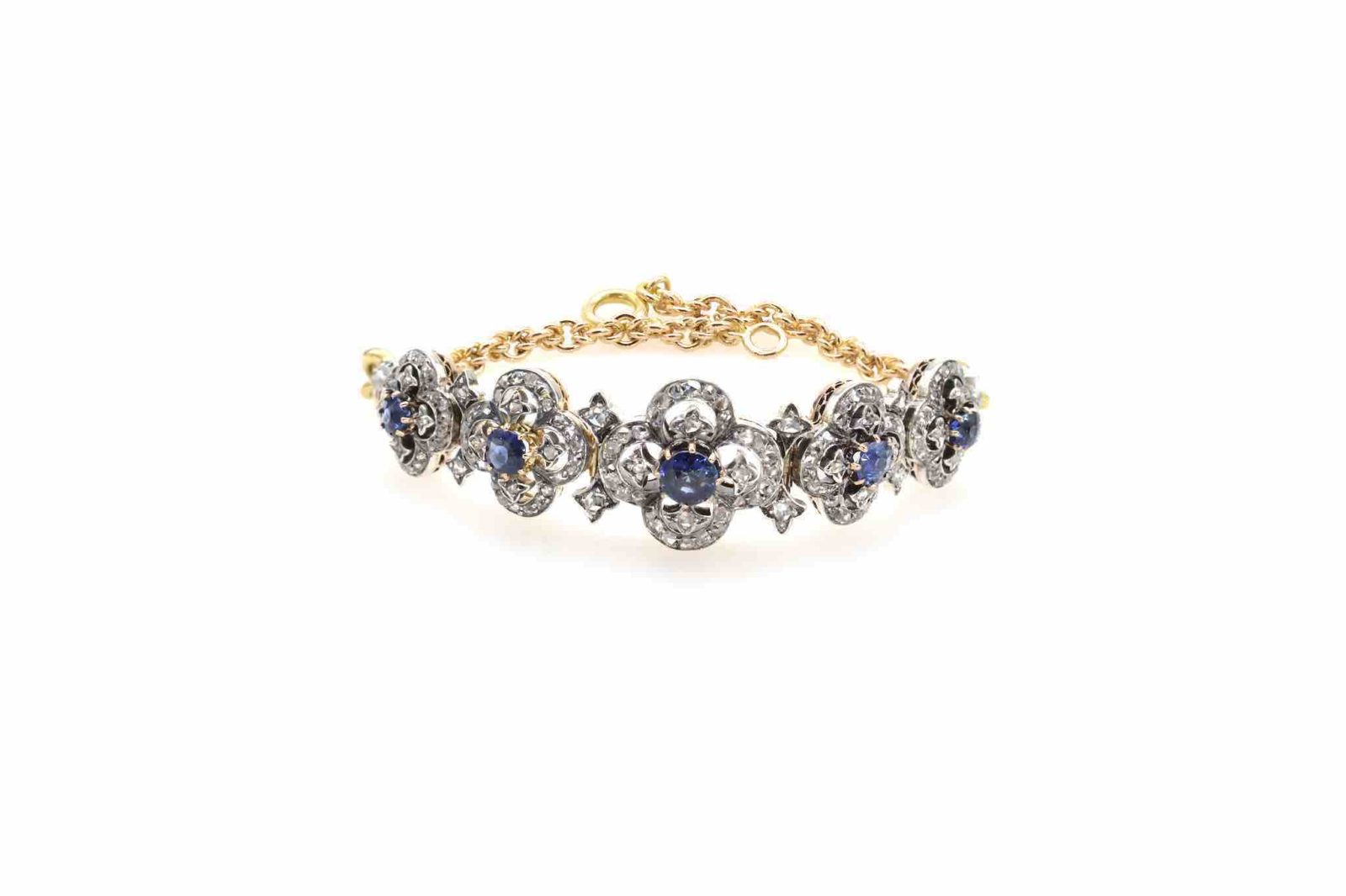 Bracelet ancien 19e siècle saphirs et diamants