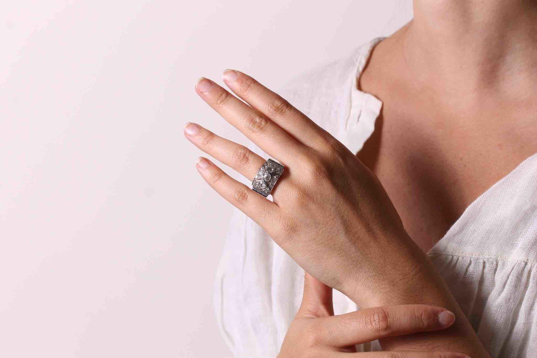 Bague 1930 diamants en or blanc 18k