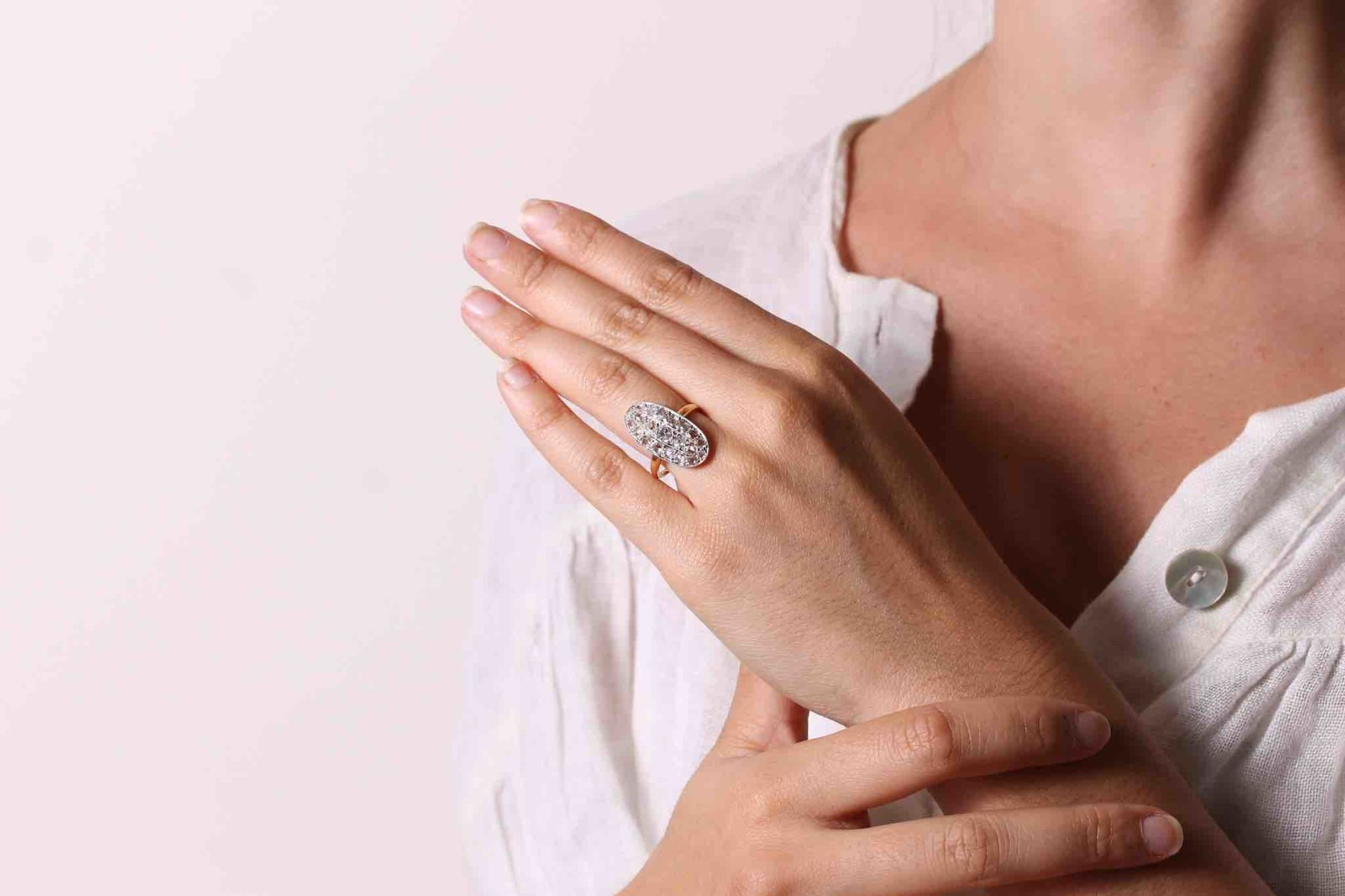 Bague 1910 pavée de roses de diamants
