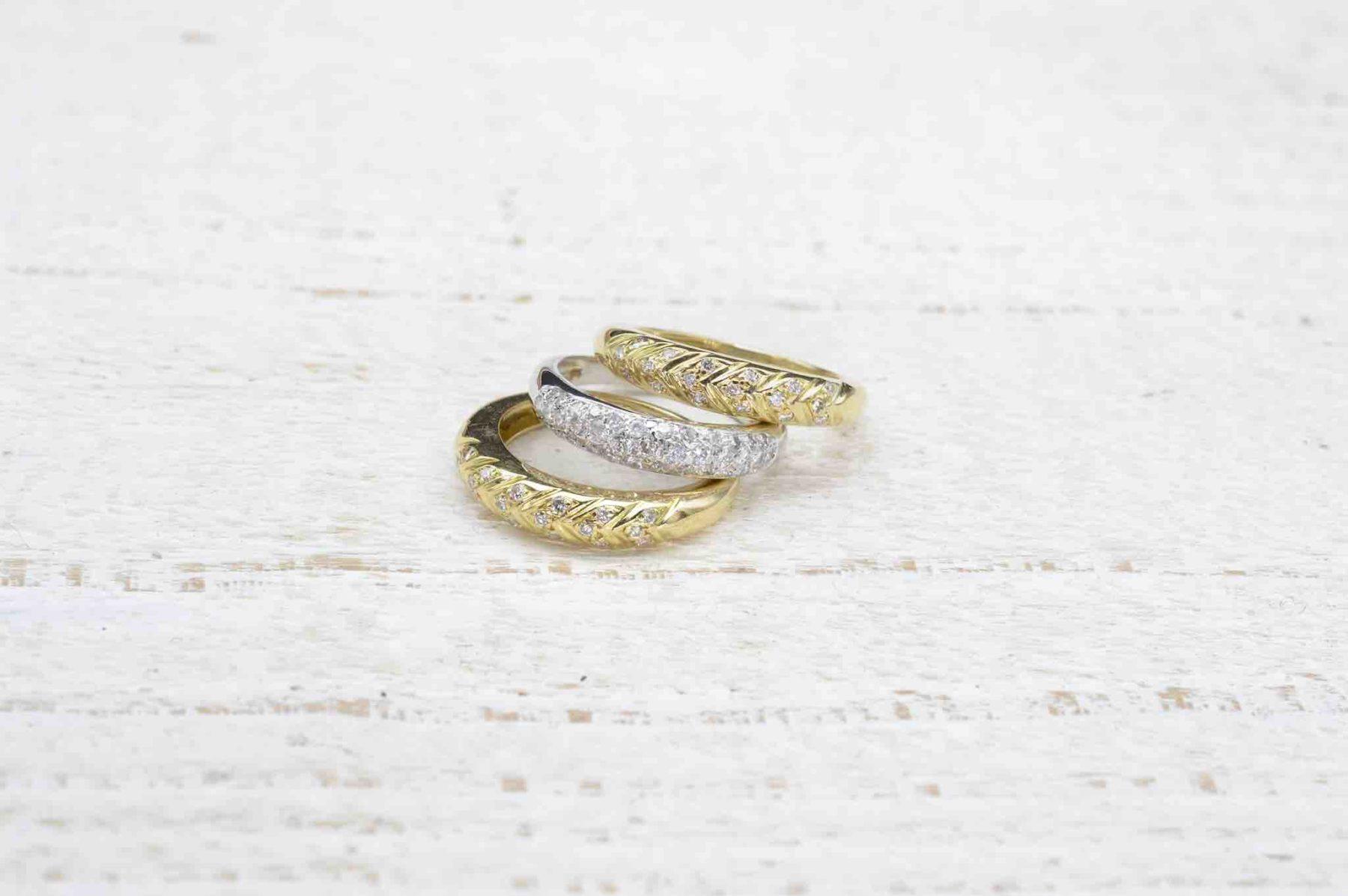 bagues trio diamants en or jaune et or blanc 18k