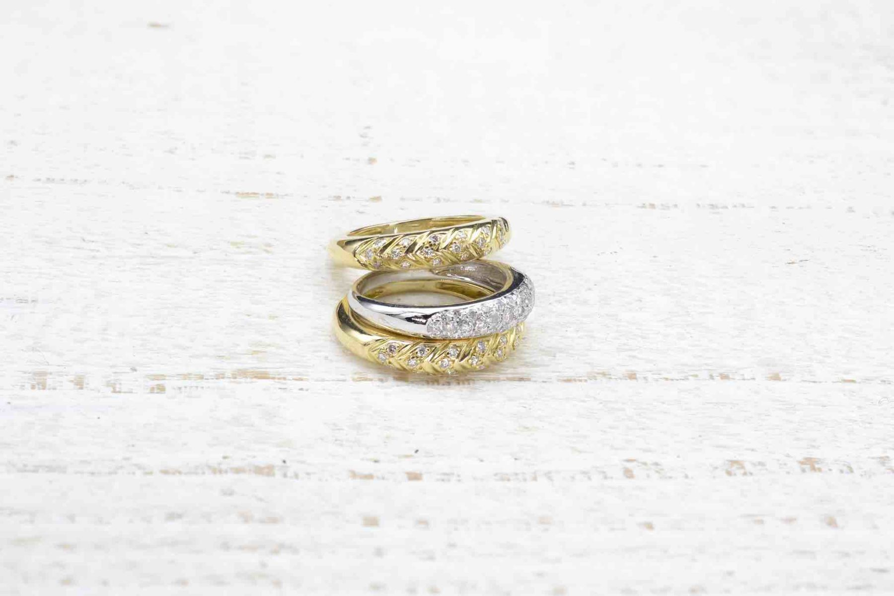 Bague 3 anneaux diamants en or jaune et or blanc 18k